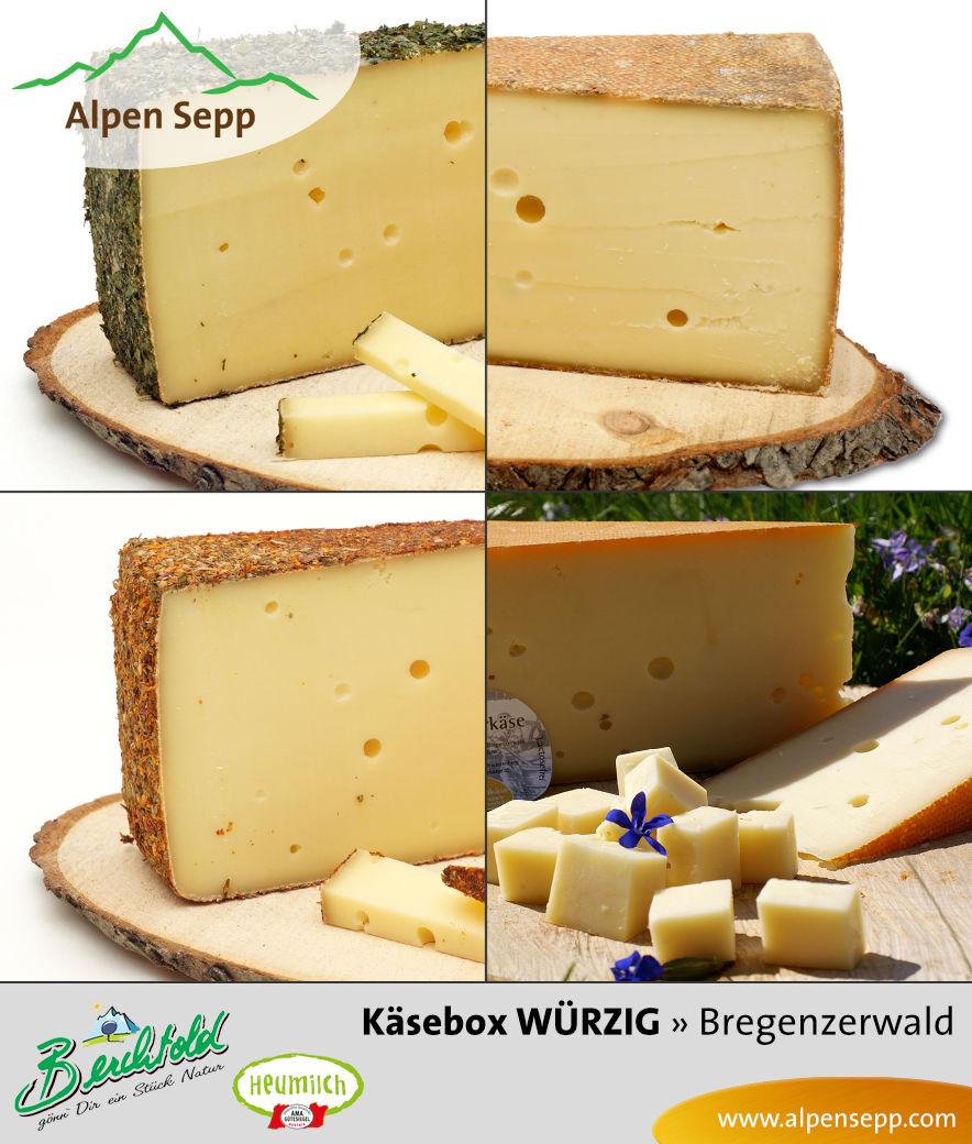 WÜRZIGE 1,8 kg Heumilch Käse Box mit 4 würzigen Käsesorten