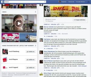 ver.di facebook reaktionen zum poststreik