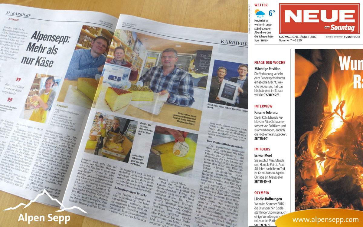 Alpen Sepp Reportage in der NEUE Vorarlberger Tageszeitung