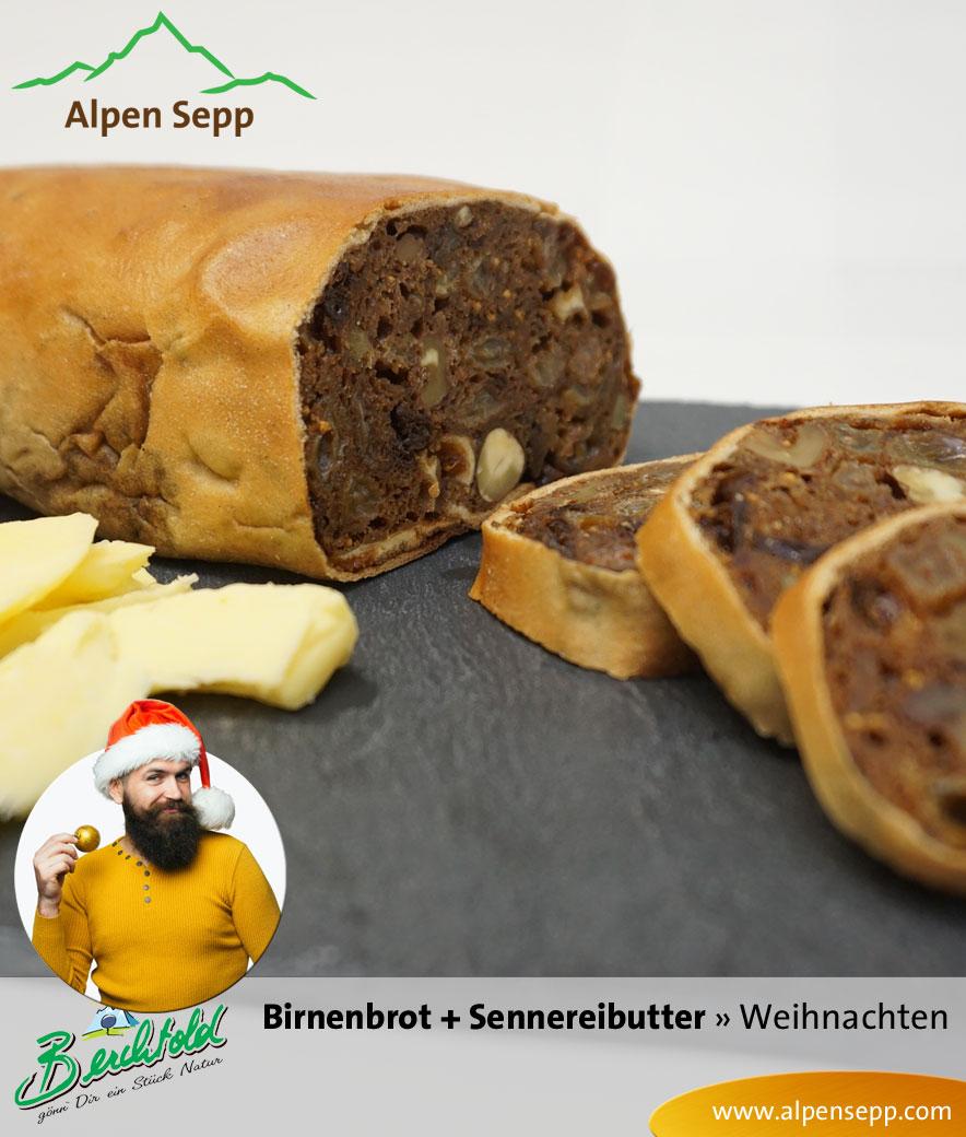 Bregenzerwälder Birnenbrot mit Sennerei Butter im Weihnachtsset