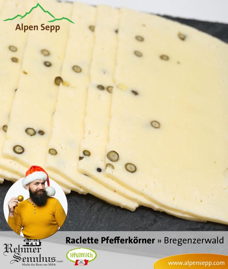 Raclette Käse mit Pfefferkörnern