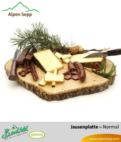 Jausenplatte - normale Größe - Wurst + Käse